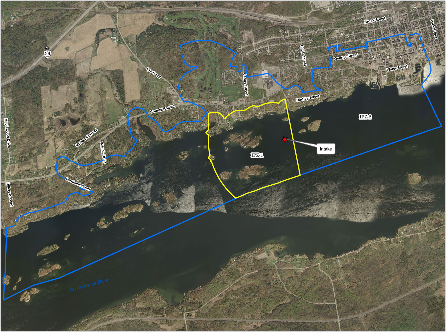 Brockville Intake Protection Zone Map