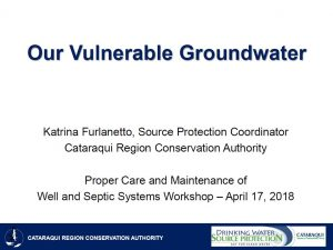 Our Vulnerable Groundwater - presentation cover page