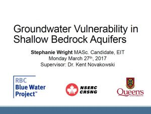 Groundwater Vulnerability in Shallow Bedrock Aquifers - Presentation cover page