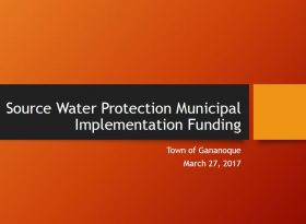 Town of Gananoque: Source Water Protection Municipal Implementation Funding. - Cover Page