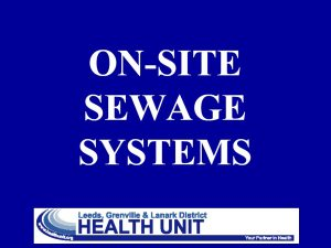 On site sewage systems - cover page