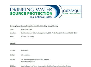Drinking Water Source Protection Municipal Working Group Meeting - Agenda