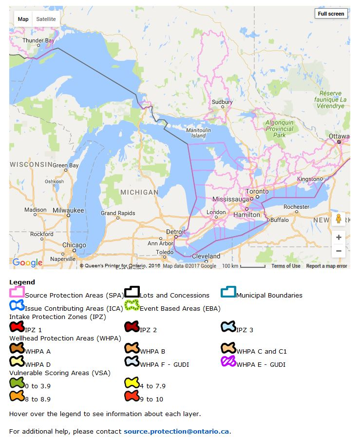 Ontario Interactive Source Protection Map – Clean Water ...