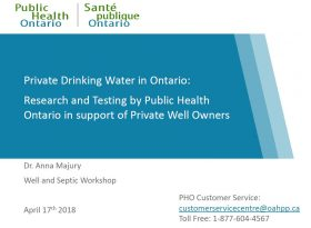 Public Health Ontario - Private Drinking Water in Ontario cover page