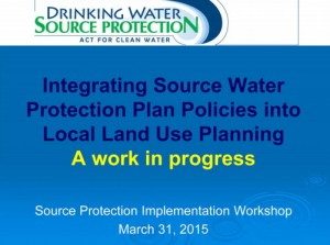integrating source water protection plan policies into local land use planning