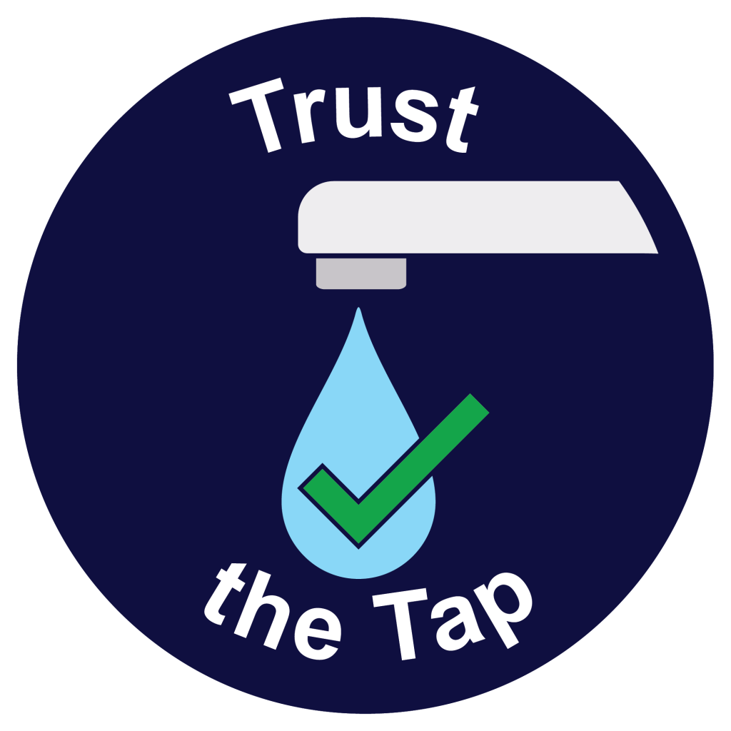 Trust the Tap logo - water drop coming out of a faucet